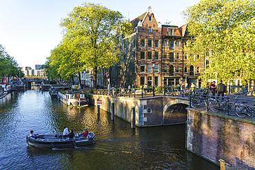 Early morning on Brouwersgracht Canal, Amsterdam, North Holland, The Netherlands, Europe