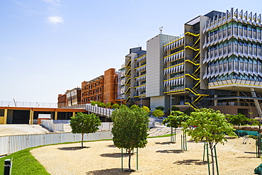 Masdar City, a carbon neutral building project relying on solar energy and other renewable power sources, Abu Dhabi, United Arab Emirates, Middle East