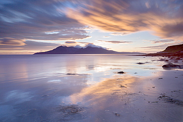 Sun setting over the Isle of Rum, Inner Isles, Inner Hebrides, Highlands, Scotland, United Kingdom, Europe