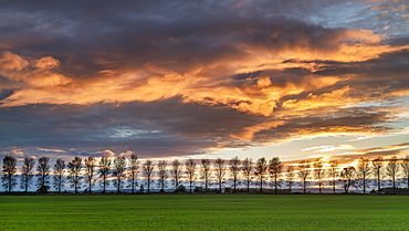 A dramatic panoramic red sky sunset over North Yorkshire, England, United Kingdom, Europe