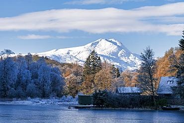 Loch Ard, Aberfoyle, and Ben Lomond in mid-winter, Loch Lomond and the Trossachs National Park, Scotland, United Kingdom, Europe