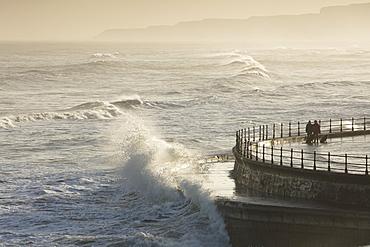 Scarborough South Bay rough seas and sea defences, Scarborough, North Yorkshire, Yorkshire, England, United Kingdom, Europe