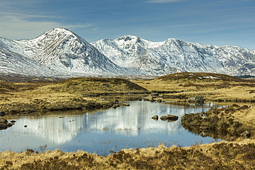 Rannoch Moor and Black Mount in early spring, Scotland, United Kingdom, Europe