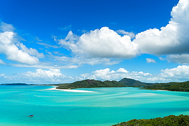 A boat in the shallow water of Whitsunday Island in tropical Queensland, Australia, Pacific