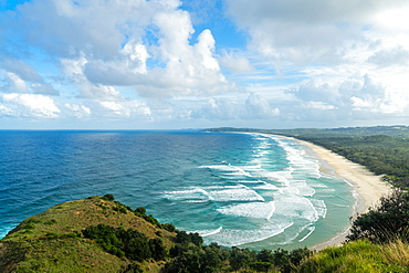 Waves as far as the eye can see along the coast of Byron Bay, New South Wales, Australia, Pacific