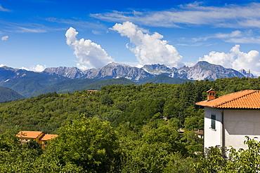 Apuane Alps, view from Corfino, Garfagnana, Tuscany, Italy, Europe