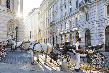 Horse drawn carriage (fiaker) and driver, Hofburg, Michaelerplatz, Vienna, Austria, Europe