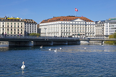 Promenade at River Rhone, Geneva, Switzerland, Europe