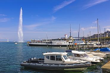 Jet d'Eau fountain and harbour, Geneva, Switzerland, Europe