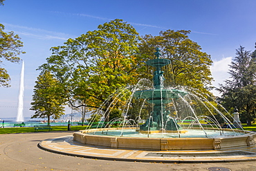 Fontaine des Quatre Saisons, (Fountain of the Four Seasons), Jardin Anglais, urban park, Geneva, Switzerland, Europe