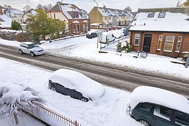 Snow covered streets, Renfrew, Scotland, United Kingdom, Europe