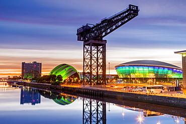 River Clyde, The Hydro, The Armadillo, Finnieston Crane, Glasgow, Scotland, United Kingdom, Europe