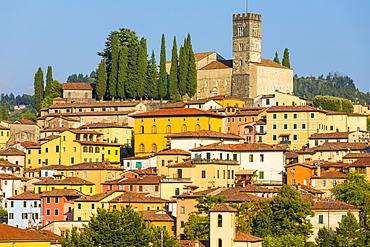 Skyline view of Duomo and Barga, Garfagnana, Tuscany, Italy, Europe