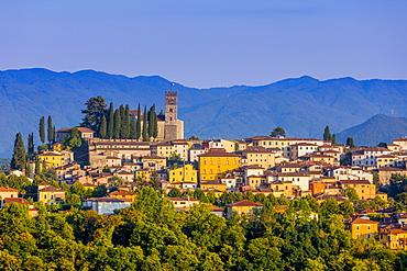 Skyline view of Barga, Garfagnana, Tuscany, Italy, Europe