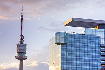 Danube Tower and Saturn Tower at sunset, Vienna, Austria, Europe