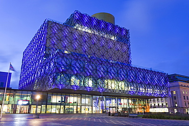 The Library of Birmingham, illuminated at night, Centenary Square, Birmingham, West Midlands, England, United Kingdom, Europe