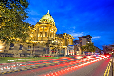 Mitchell Library with traffic trail lights at dusk, Glasgow, Scotland, United Kingdom, Europe