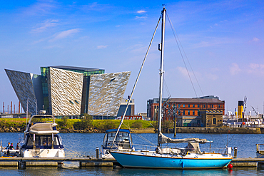 Boats moored in front of Titanic Belfast, Belfast, Ulster, Northern Ireland, United Kingdom, Europe