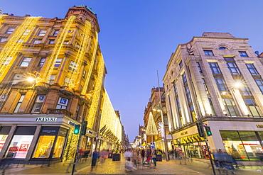 Buchanan Street at Christmas, City Centre, Glasgow, Scotland, United Kingdom, Europe