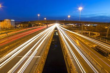 M8 Motorway trail lights, Kingston Bridge, Glasgow, Scotland, United Kingdom, Europe