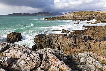 Rocky shoreline on west coast of Isle of Harris, Outer Hebrides, Scotland, United Kingdom, Europe