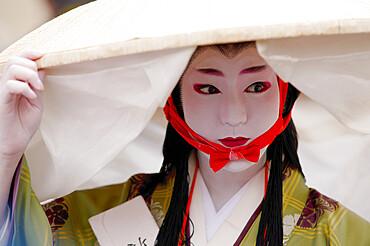 Thirteenth century poet Abutsuni, Jidai festival, Kyoto, Japan, Asia