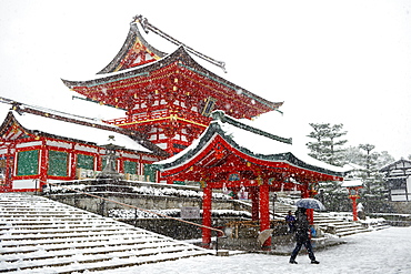 Heavy snow on Fushimi Inari Shrine, Kyoto, Japan, Asia