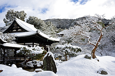 Snow-covered Zen garden in Kodai-ji Temple, Kyoto, Japan, Asia