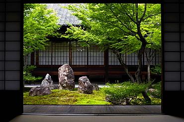 Inner moss garden, Kennin-ji temple, Kyoto, Japan, Asia