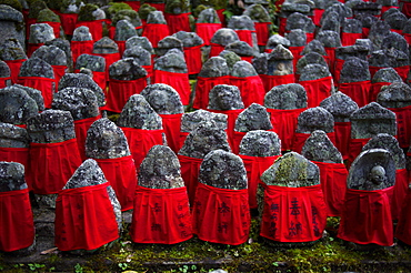 Old jizo statues with red bibs, Risho-in temple, Kyoto, Japan, Asia