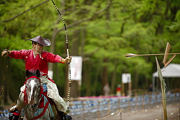 Yabusame archery competition in Shimogamo shrine, Kyoto, Japan, Asia