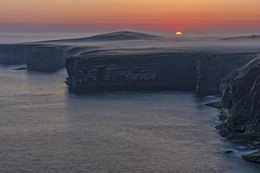 Sunrise and fog, Loop Head, County Clare, Munster, Republic of Ireland, Europe