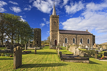 Church and Roundtower, Fermoy, County Antrim, Ulster, Northern Ireland, United Kingdom, Europe