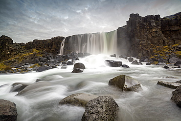 Oxararfoss waterfall, Thingvellir National Park, UNESCO World Heritage Site, Iceland, Polar Regions
