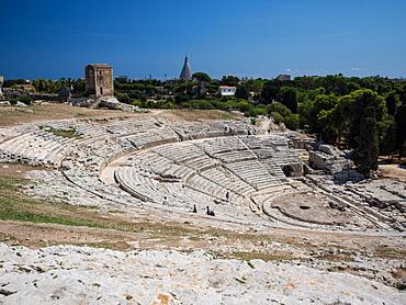 The 5th century BC Teatro Greco, Parco Archeologico della Neapolis, Syracuse (Siracusa), Sicily, Italy, Europe