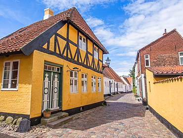 Yellow half-timbered house, Ribe, Jutland, Denmark, Europe
