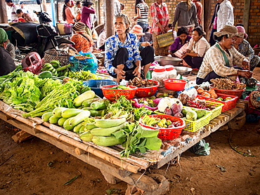 Small market in a country town near Tonle Sap lake, Cambodia, Indochina, Southeast Asia, Asia