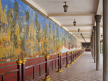 Murals in the royal palace complex depicting scenes from the Ramayana, Phnom Penh, Cambodia, Indochina, Southeast Asia, Asia