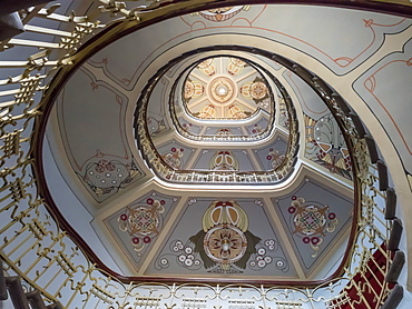 Art Nouveau building staircase, UNESCO World Heritage Site, Riga, Latvia, Baltics, Europe
