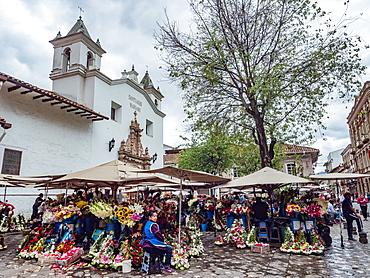 The daily flower market in Cuenca's Plazoleta del Carmen, Cuenca, Ecuador, South America