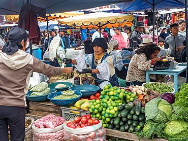 Produce for sale, market, Plaza de los Ponchos, Otavalo, Ecuador, South America