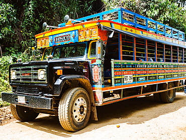 Brightly painted chivas, common transport in rural Antioquia, near Jardin, Antioquia, Colombia, South America