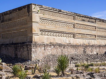 Pre-Columbian Mixtec and Zapotec ruins in the town of Mitla, State of Oaxaca, Mexico, North America