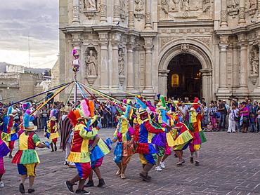 Masked dancers, Fiesta de la Virgen de la Soledad, Basilica of Our Lady of Solitude, Oaxaca, Mexico, North America