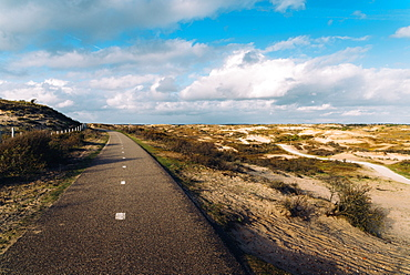 A paved cycling path along the Dutch coast, Zeevort, The Netherlands, Europe