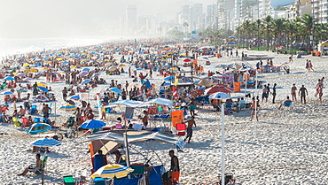 Crowded Ipanema beach in Rio de Janeiro, Brazil, South America
