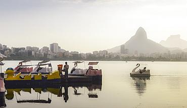 A swan-shaped paddle boat on Lagoa Rodrigo de Freitas in Rio de Janeiro, Brazil, South America