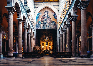 Interior of Pisa Cathedral, a medieval Roman Catholic cathedral dedicated to the Assumption of the Virgin Mary, Pisa, Tuscany, Italy, Europe