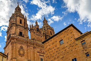 Facade to 16th-century Gothic palace covered in symbolic seashell motifs, now an exhibition space and library, Salamanca, Castilla y Leon, Spain, Europe