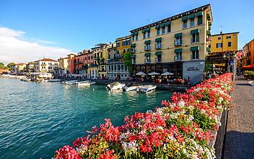 Floral display at entrance to Peschiera del Garda, Veneto, Italy, Europe